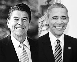 Обама, увы, – не Рейган (фото: Consolidated White House/DPA/ТАСС, John Stillwell/Reuters)