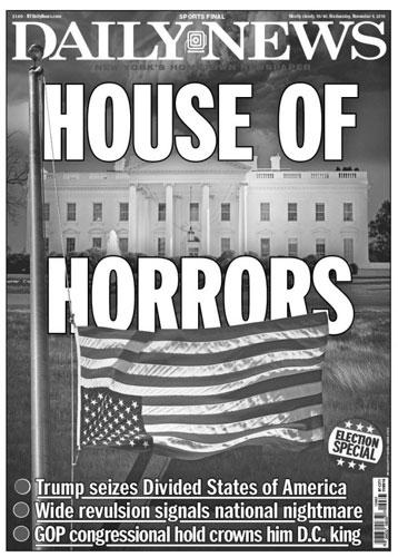Американская «Дейли Ньюс» вышла с заголовком «Дом кошмаров» на фоне Белого дома