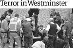 Британские и мировые СМИ посвятили обложки и передовицы вышедших в четверг номеров теракту в Лондоне, где террорист-одиночка на автомобиле совершил наезд на пешеходов на тротуаре Вестминстерского моста, а затем ударил ножом полицейского (фото: The Guardian)