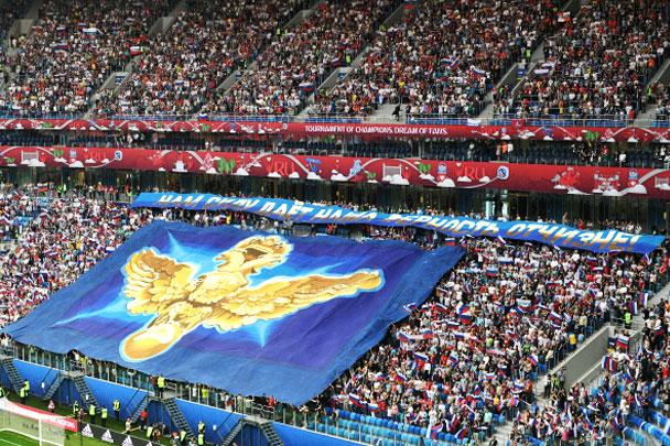 На матче открытия стадион в Санкт-Петербурге был заполнен до предела