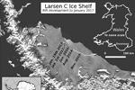 Схема расположения и сравнение площади отколовшегося айсберга (фото: A. Luckman/PROJECT MIDAS/Swansea University)