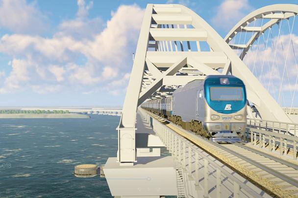 Железнодорожный арочный пролет тяжелее автодорожного более чем на 1 тысячу тонн – он представляет собой комбинацию из пролетного строени