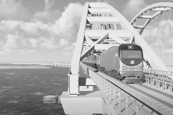 Железнодорожный арочный пролет тяжелее автодорожного более чем на 1 тысячу тонн – он представляет собой комбинацию из пролетного строения со сквозными главными фермами и аркой. Движение поездов идет по элементам фермы, а арка выполняет поддерживающую функцию
