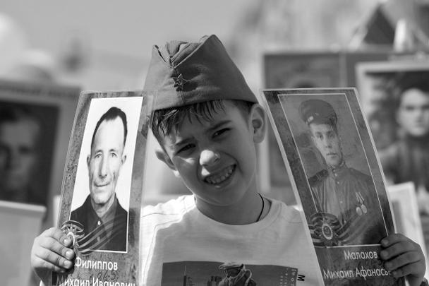 Юный участник акции «Бессмертный полк» в Москве