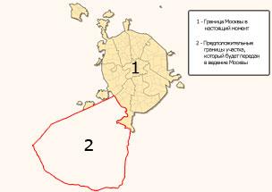 Дмитрию Медведеву показали на карте новые границы Москвы.