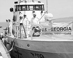 Модернизированный по новейшим стандартам на средства США патрульный катера был передан Грузии(фото: facebook.com/tbilisi.usembassy)
