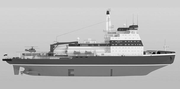 Рисунок проекта перспективного российского атомного ледокола, который, как предполагается, должен вступить в строй в 2017 году. Он станет следующим в длинном ряду легендарных российских атомных ледоколов