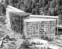 Белорусская калийная компания строит собственную штаб-квартиру в Минске. Металлический каркас в центральной части здания будет имитировать огромный красный кристалл калийной соли (фото: varabyeu-partners.com)