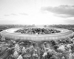 Проект новой штаб-квартиры Apple в виде космического корабля спроектирован известным звездой в архитектуре Норманном Фостером (фото: fosterandpartners.com)