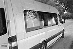 """На фото – микроавтобус американской рок-группы Bloodhound Gang. Слева вверху на ней можно заметить следы помидоров и тухлых яиц, которыми забросали машину возмущенные жители Кубани. Бас-гитарист этой группы подтерся флагом России <a href = """"http://vz.ru/news/2013/8/3/644071.html"""" target = """"_blank"""">Подробности</a>(фото: twitter.com/antkachev)"""