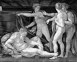 «Опьянение Ноя», фреска Микеланджело в Сикстинской капелле, 1508—1512