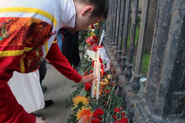 Украины в москве в знак скорби по
