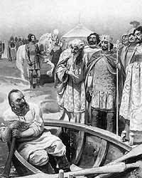 (фото: wikipedia.org/Встреча Святослава с Иоанном Цимисхием. К. Лебедев, 1916)