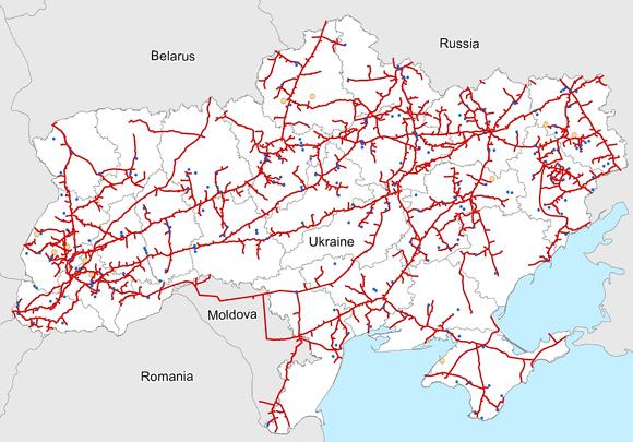 Схема газотранспортной системы