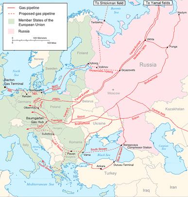 Схема газопроводов из России в