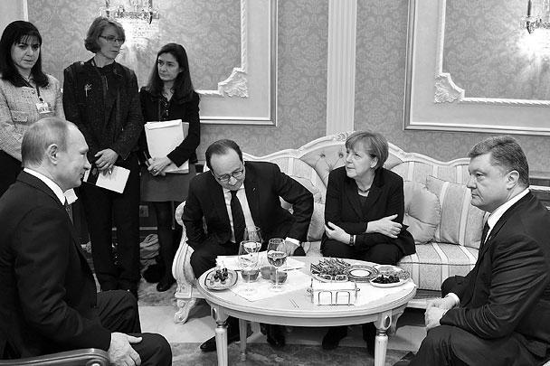 Как отмечали журналисты, присутствовавшие на переговорах, лидерам «четверки» приходилось подкреплять силы минеральной водой и конфетами не один раз – особенно после бессонной ночи. «Шоколадный магнат» Порошенко, впрочем, довольно «кисло» оценил итоги дискуссии, заявив о неких неприемлемых условиях, выдвинутых российской стороной