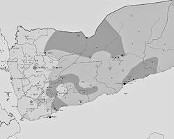 Зеленым цветом обозначены территории, контролируемые хуситами, розовым – остающиеся под контролем правительственных войск, серым – зона контроля исламистов АКАП и горчичным цветом – районы, контролируемые сепаратистами Юга (Фото: 0ali1/Wikipedia) (увеличение по клику)