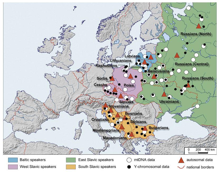 Карта изученных балто-славянских популяций. Зеленым фоном показаны восточные славяне, розовым – западные славяне, бежевым – южные славяне, голубым – балтские популяции. Значки обозначают местоположение популяций, в которых собраны образцы: проанализированные по мтДНК (белые кружки), проанализированные по Y-хромосоме (черные точки), проанализированные по аутосомным маркерам (красные треугольники)