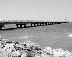 В Керченском проливе построен уже первый технологический временный мост для завозки строительных материалов (Фото: Николай Хижняк/РИА Новости)
