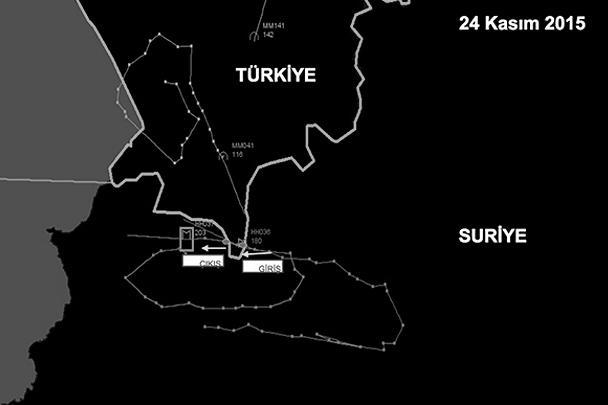 Так выглядит турецкая схема – по ней, российский Су-24 залетел на турецкую территорию на несколько секунд