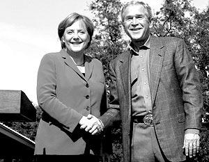Меркель выразила надежду, что при обсуждении своей позиции найдет у Буша «открытые уши»