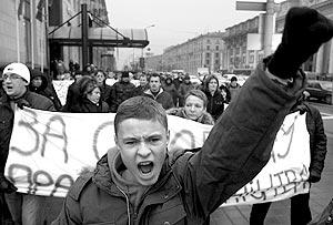 Предприниматели колонной прошли по центральному проспекту Минска
