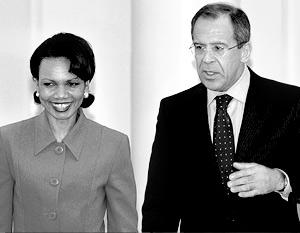 Госсекретарь США Кондолиза Райс и глава МИД России Сергей Лавров