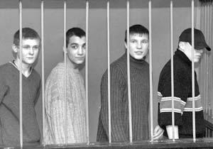 Обвиняемые по делу об убийстве в сентябре 2003 года таджикской девочки - Дмитрий Данилов, Дмитрий Харитдинов, Александр Крылов и Юрий Антонов