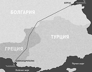 """Болгарское правительство, выйдя из проекта строительства нефтепровода  """"Бургас - Александруполис """", отказалось."""