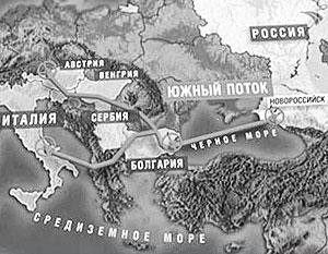 """Схема газопровода  """"Южный поток """", переданная в эфире телеканала  """"Россия """".  Французы могут получить до 10 процентов в..."""