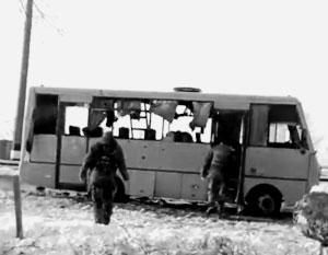 Десять пассажиров автобуса погибли, тринадцать получили ранения