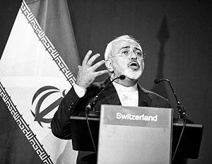 Министр иностранных дел Ирана Зариф после достижения предварительных договоренностей на переговорах в Лозанне