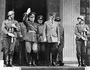 Премьер-министр Румынии Йон Антонеску и канцлер Германии Адольф Гитлер