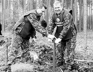 Александр Худилайнен демонстративно сажает лес, вместо того чтобы бороться с его незаконными вырубками
