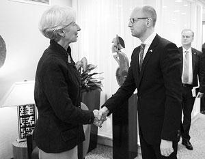 Глава МВФ Кристин Лагард и премьер-министр Украины Арсений Яценюк
