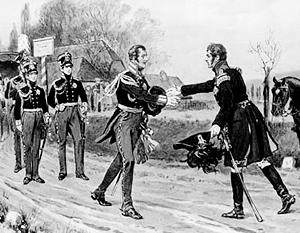 Встреча короля Пруссии Фридриха-Вильгельма III и императора Александра I в марте 1813 года (художних Вольдемар Фридрих)