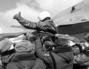 Так встречают наших летчиков, вернувшихся из Сирии