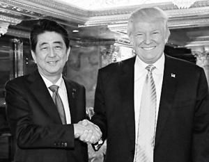 Избранный президент США Дональд Трамп встретился с японским премьер-министром Синдзо Абэ