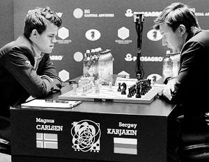 «Я очень постараюсь вернуть корону домой», – пообещал накануне матча с Магнусом Карлсеном (на фото – слева) Сергей Карякин