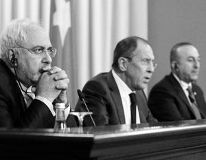 Зариф, Лавров и Чавушоглу – министры иностранных дел Ирана, России и Турции