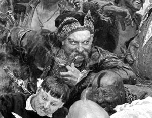 Казак Иван Серко с картины Репина, словно форпост русско-украинской войны в «Википедии», непрерывно переходит из рук в руки