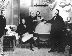 Подписание договора о продаже Аляски. Слева направо: Роберт Чу, Уильям Сьюард, Уильям Хантер, Владимир Бодиско, Эдуард Стекль, Чарльз Самнер