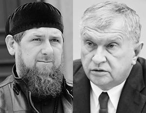 Глава Чечни Рамзан Кадыров и главный исполнительный директор ПАО «НК «Роснефть» Игорь Сечин