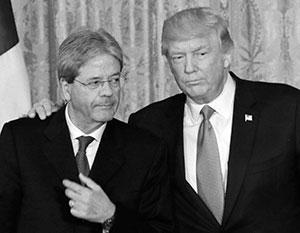 Дональд Трамп с премьер-министром Италии Паоло Джентилони