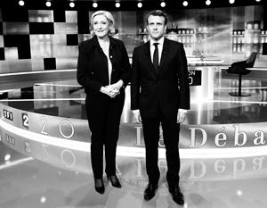 Ле Пен и Макрон - два будущих президента Франции