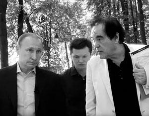 Оливер Стоун с Владимиром Путиным и переводчиком на съемках фильма «Интервью с Путиным»