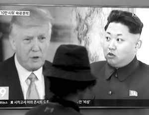 Америка может вести только пропагандистскую войну – фото грозного Трампа совмещается с фотографией встревоженного Кима