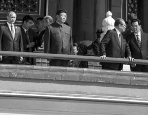 Парад в Пекине 3 сентября 2015 года – Путин, Си Цзиньпин и два бывших генсека, Цзян Цзэминь и Ху Цзиньтао