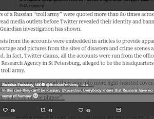Российские дипломаты ответили на обвинение по поводу «армии троллей» в британских СМИ