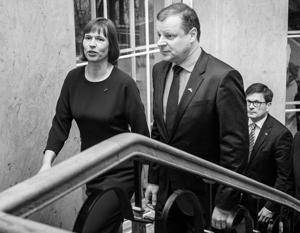 Президент Эстонии Керсти Кальюлайд и премьер-министр Литвы Саулюс Сквернялис